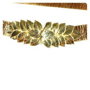 Accessories - Gold Leather Adjustable Belt Ornate Leaf Buckle